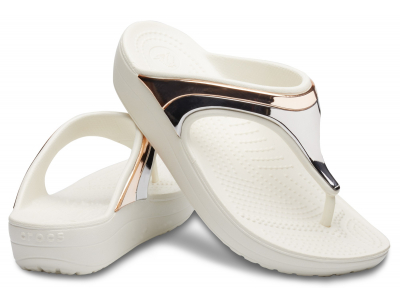 Crocs™ Sloane Metal Block Wedge Flip Multi Rose Gold/Oyster