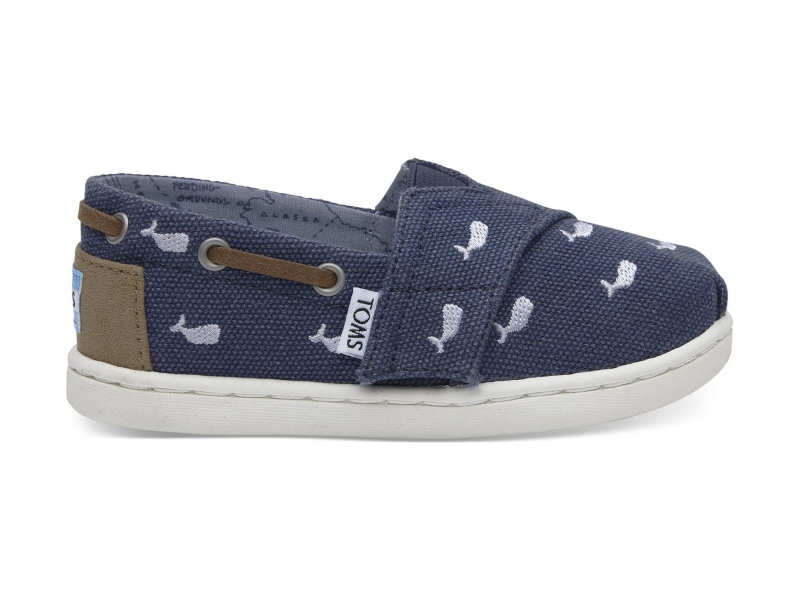 TOMS Washed Canvas Kid's Bimini Embroidered Whale