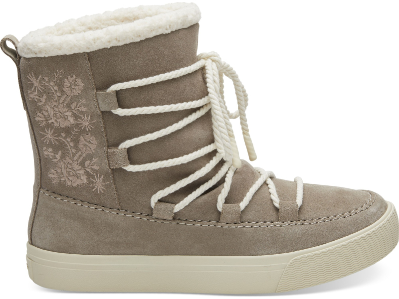 TOMS Suede Faux Shearling Women's Alpine Boot Desert Taupe