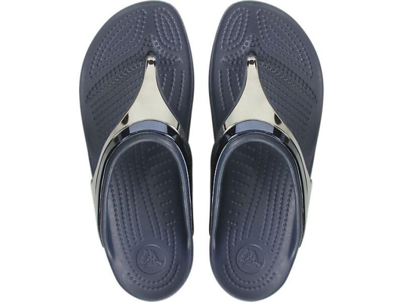 Crocs™ Sloane Metal Block Wedge Flip Multi Navy/Navy