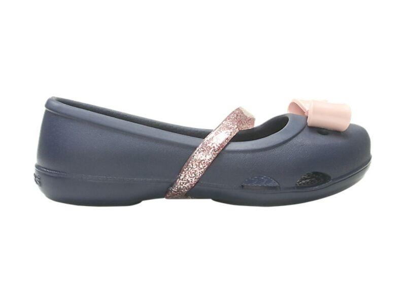 cf1b21887140 ... Navy Crocs™ Lina Charm Flat Kid s ...