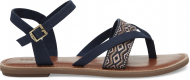 TOMS Canvas Embroidery Women's Lexie Sandal Navy