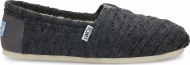 TOMS Cable Knit Shearling Women's Alpargata Forged Iron Grey